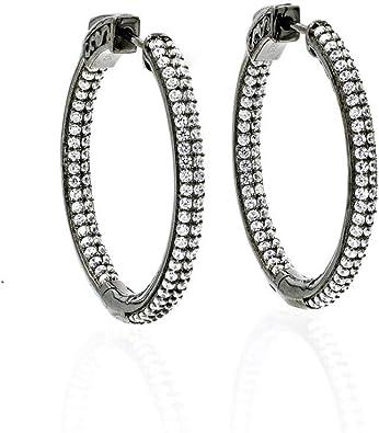 925 Sterling Silver Rhodium-plated CZ Hoop /& Heart Bangle Bracelet