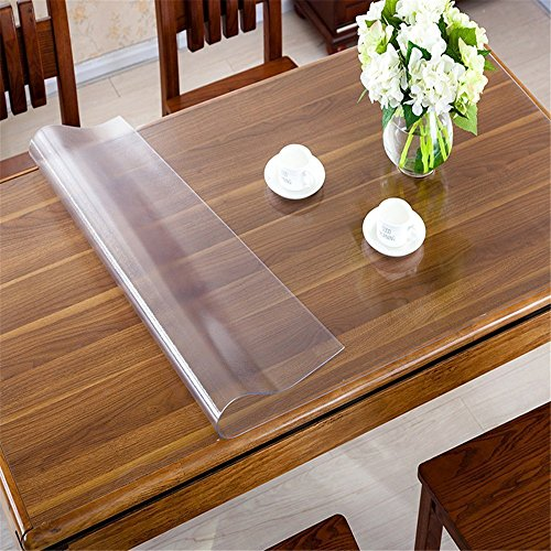 OstepDecor Custom 1.5mm Thick Frosted Table Cover Glass Top Protector  Kitchen Dining Room Wood Furniture Protective Cover | Rectangular 42 X 90  Inches