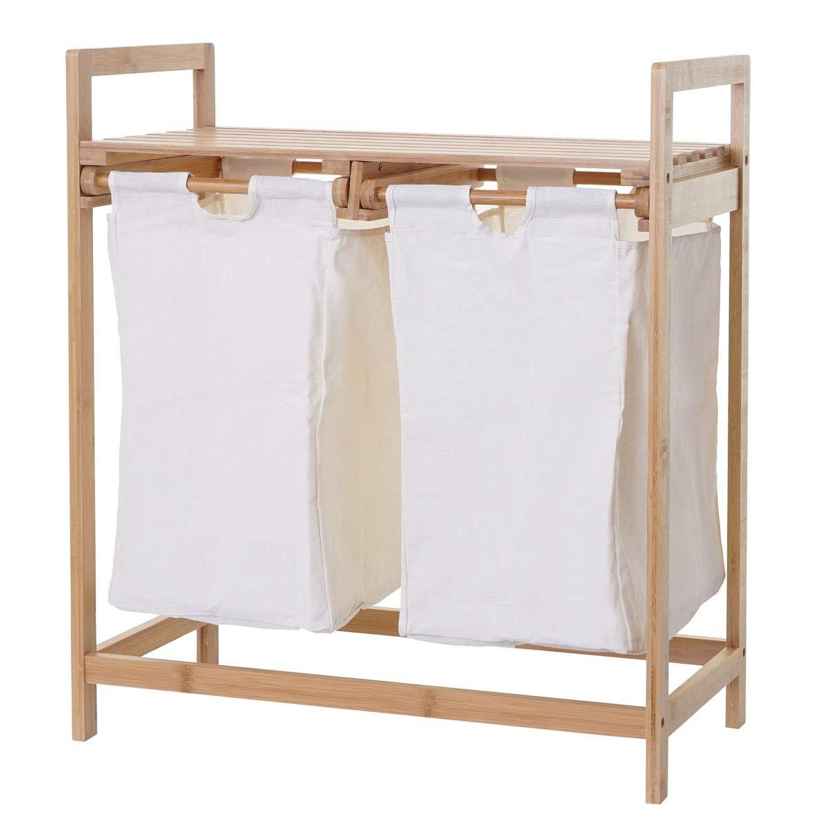 Bambus 2 F/ächer 74x64x33cm 70l Mendler W/äschesammler HWC-B83 Laundry W/äschesortierer W/äschebox W/äschekorb W/äschebeh/älter