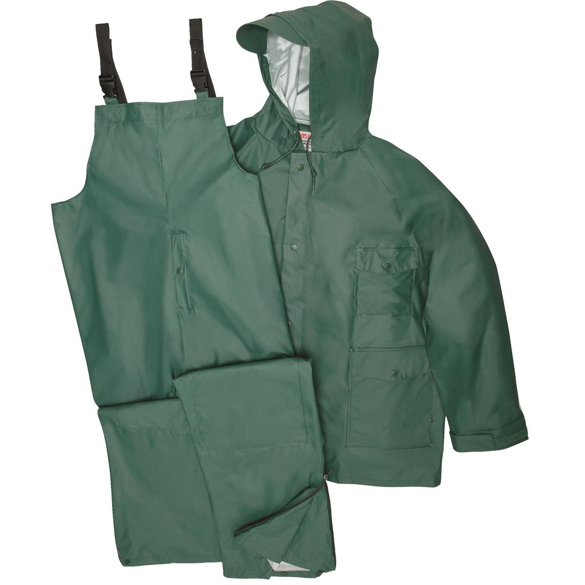 Gempler's GEMPLER'S Premium Quality Rain Jacket and Bib Overalls Waterproof Rain Suit, Green, Size Large by Gempler's
