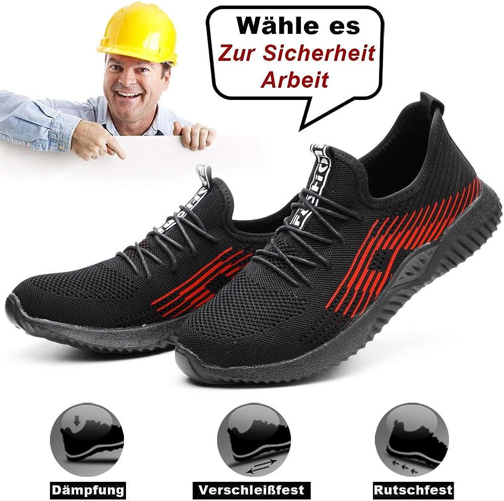 Uomo Scarpe Antinfortunistiche Donna Scarpe da Lavoro con Punta in Acciaio Sneaker da Lavoro Kevlar Leggere Traspiranti Scarpe Sportive per L'Estate
