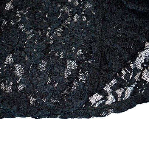 encaje redondo tres de o Woman hueco camiseta verano bordada Manga cuartos grande de Negro de Tama Abby Camiseta Perspectiva Cuello P6Bw55
