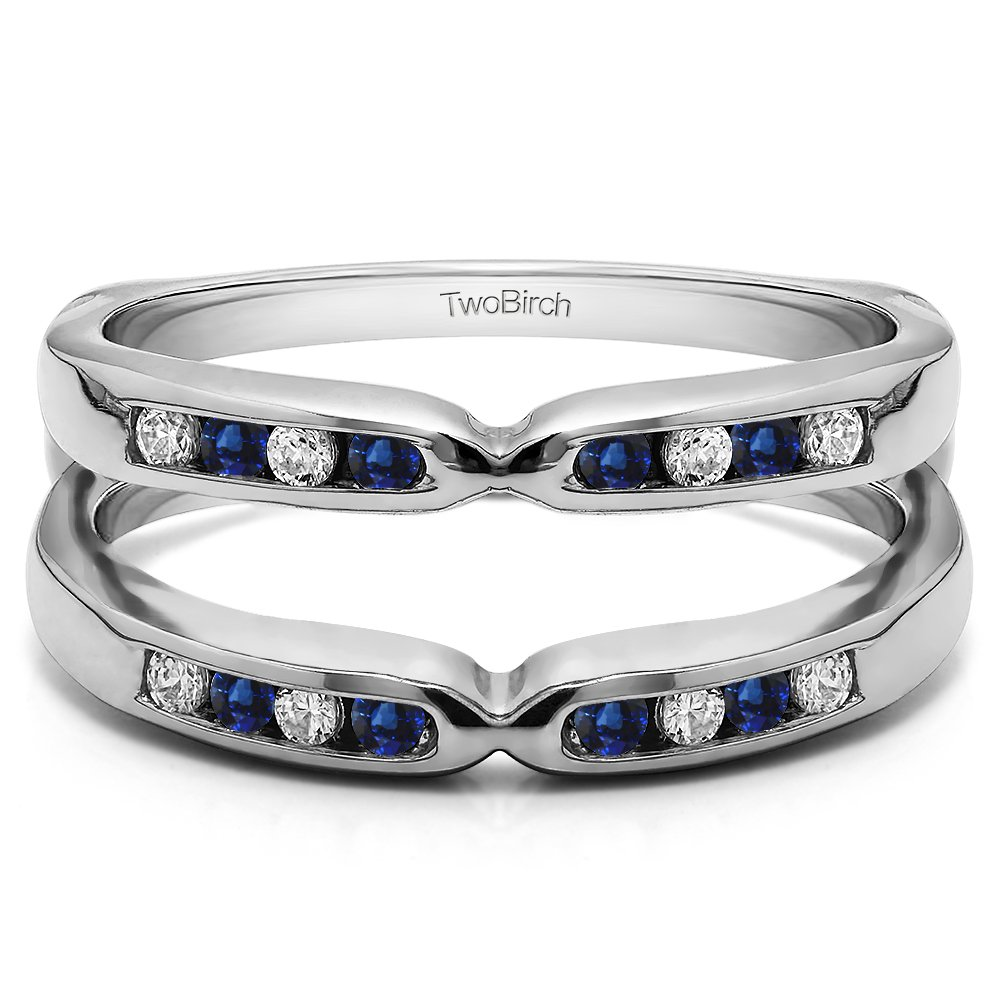 Silver Pinched Center Classic Style Ring Guard Enhancer with Diamonds and Sapphire (0.24 ct. twt.)