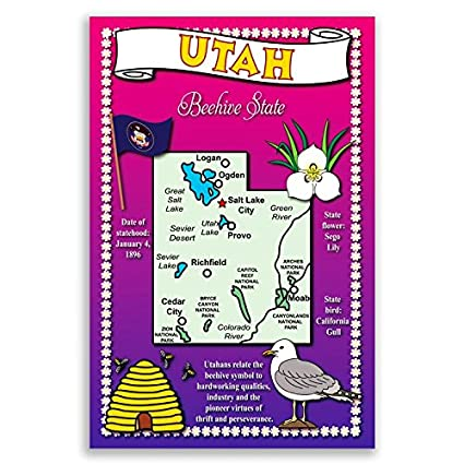 Ut State Map.Amazon Com Utah State Map Postcard Set Of 20 Identical Postcards