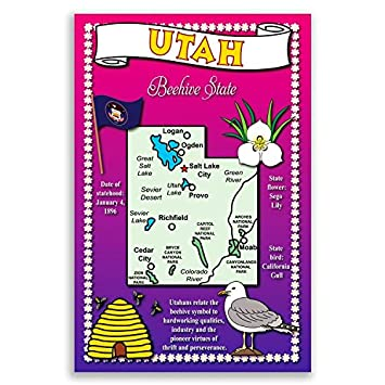 Amazoncom UTAH STATE MAP Postcard Set Of Identical Postcards - Utah on map of usa