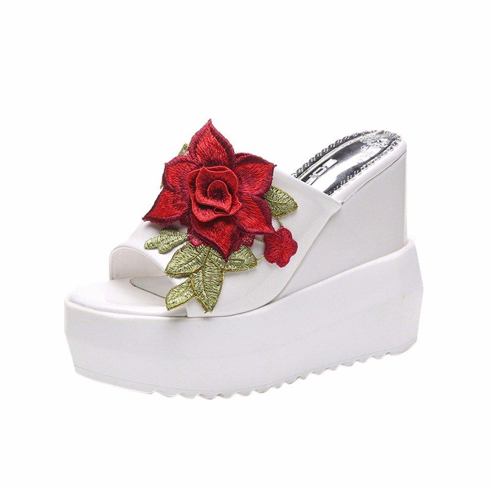 YUCH Damen Bestickt Hausschuhe mit Dicken Unten Bestickt Damen Freizeitaktivitäten Frauen Schuhe White 797a73