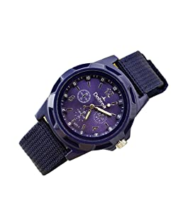 Mens Quartz Watch,Hosamtel Men's Fashion Sport Braided Canvas Belt Watch Analog Wrist Watch (Purple)
