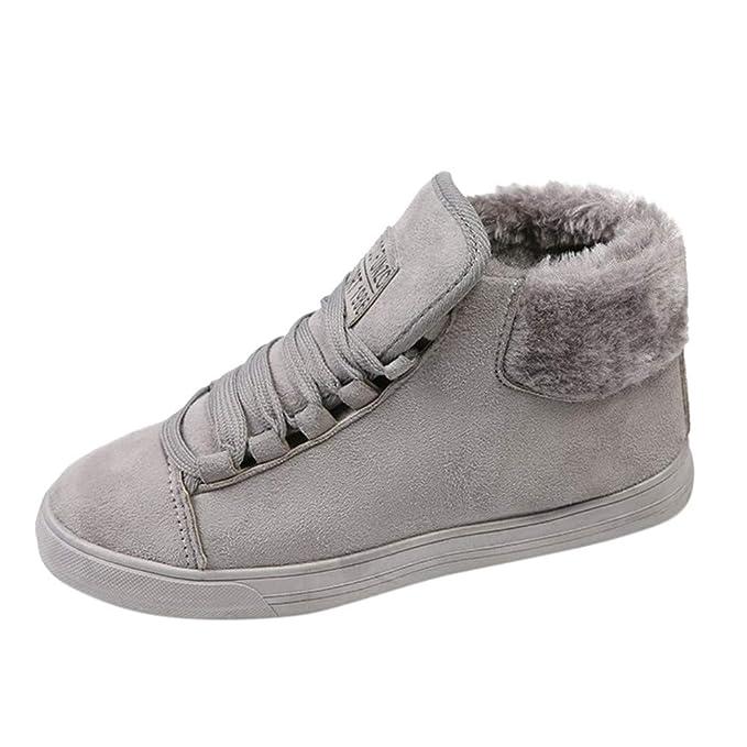 SamMoSon Botas Mujer Nieve Polar Forradas Goretex Y Agua,Planos con Zapatos De Mujer Calzado Casual De Algodón Cálido Botas Cortas con Cordones Casuales: ...