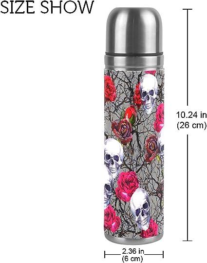 ALAZA rosa calavera botella de agua doble pared aislado al vac/ío de acero inoxidable termo aut/éntica Leathe funda 17/oz 100/% a prueba de fugas