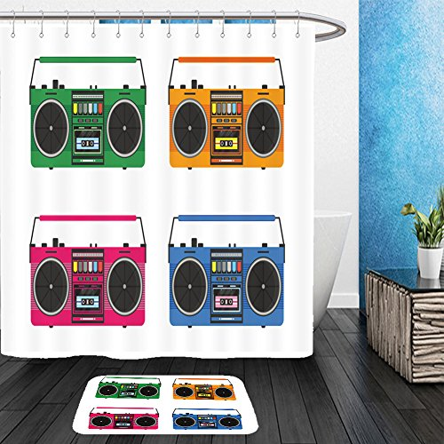 Vanfan Bathroom 2Suits 1 Shower Curtains & 1 Floor Mats flat vintage tape recorders set for audio cassettes music boombox modern trendy design for music 486539440 From Bath room