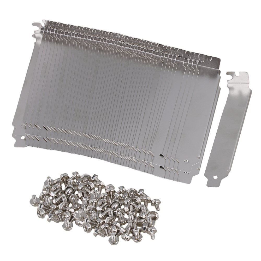 Mxfans Silver Stainless Steel Dust Proof PCI Slot Ruffled Cover Plate Set of 100
