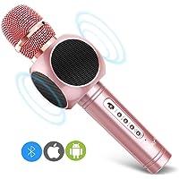 ERAY Micrófono Inalámbrico Karaoke, 4 en 1 Micrófono karaoke Bluetooth, 2 Altavoces Incorporados, 3.5mm AUX, Compatible con PC/iPad/iPhone/Smartphone, Color Rosado