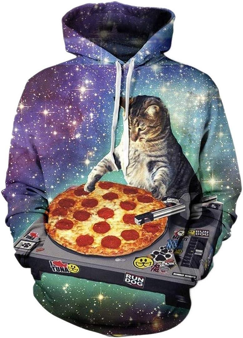 Cat Hoodie Men 3D Printed Pizza Space Galaxy Hoodie Sweatshirt Pullover Sportswear Tracksuit