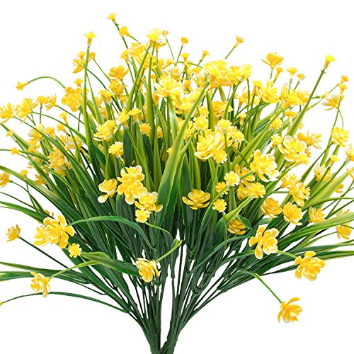 Yellow Daffodils - Jomass Artificial Flowers, 6pcs Fake Plastic Plants Faux Yellow Daffodils for Home Room Garden Wedding Party Festival Decorations
