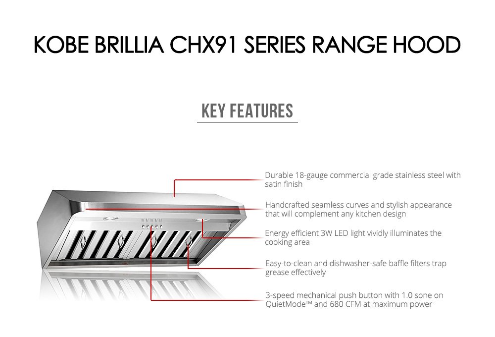 Amazon.com: KOBE CHX9130SQB 1 Brillia 30 Inch Under Cabinet Range Hood,  3 Speed, 680 CFM, LED Lights, Baffle Filters: Appliances
