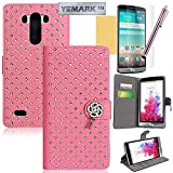 LG G3 Case,LG G3 Wallet Case,YEMARK(TM) Handmade Bling Crystal Glitter Rhinestone Diamond Flower Pendant Premium PU Leather Wallet Flip Case Cover with Stand For LG G3[Built-in Credit Card/ID Card Slots],[+Stylus+Screen Protector+Cleaning Cloth]-(Pink)