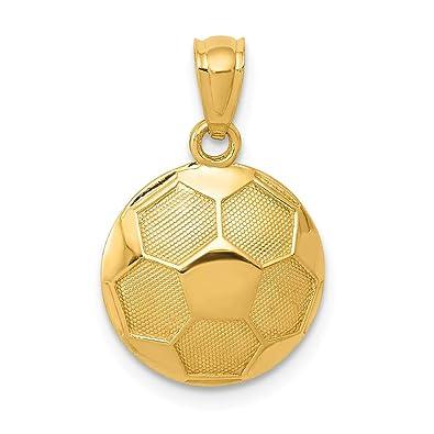 Colgante de balón de fútbol de oro amarillo de 14 quilates: Amazon ...