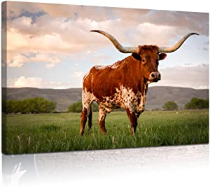 "Visual Art Decor Large Animals Canvas Wall Art Texas Longhorn in Sunset Farm Picture Giclee Prints Gallery Wrapped Painting for Home Living Room Decoration (24""x36"" Origin)"