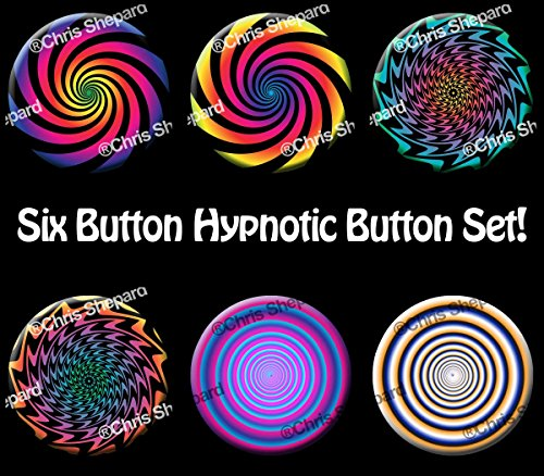 6-Pack! HYPNOTIC BUTTON COLLECTION! - Mesmerizing Pins Badges - Six Large 2.25 Inch Buttons! - (Craftsman Collection Pendant)