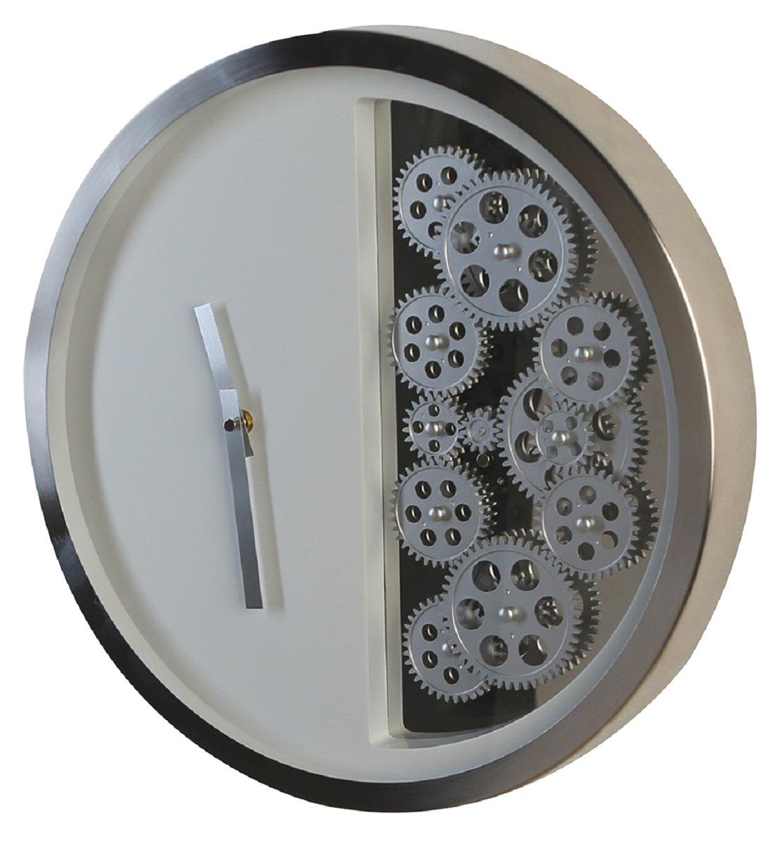 Casablanca 150176 Uhr Wanduhr - Zahnräder Edelstahl - Weiss Silber - Ø 39 cm