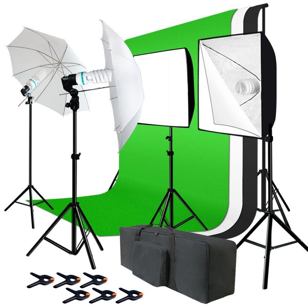 Julius Studio Photo Studio Kit 6 x 9 ft. Green White Black Muslin Backdrop Screen & Supporting System, Umbrella Reflector, Light Bulb, Soft Box Light Diffuser, Socket, Tripod Light Stand, JSAG195