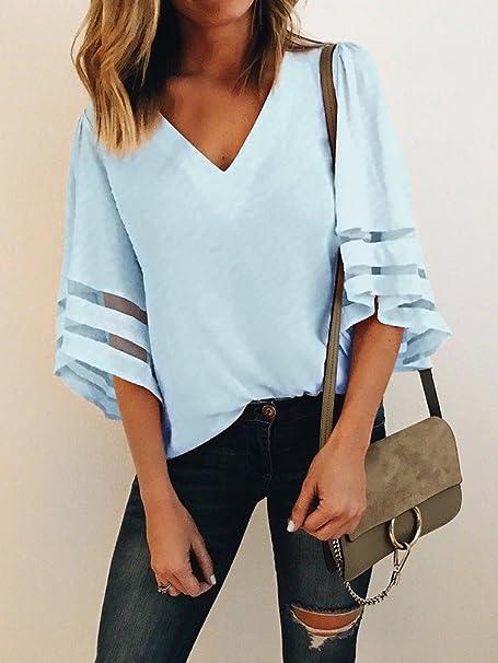 Camisa de moda para las mujeres con cuello en V tipo de gasa, blusa suelta