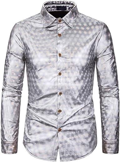 Elegeet Camisa de vestir para hombre, con lentejuelas, botones y camisas, disfraz de fiesta de discoteca de los años 70 - Plateado - Large: Amazon.es: Ropa y accesorios