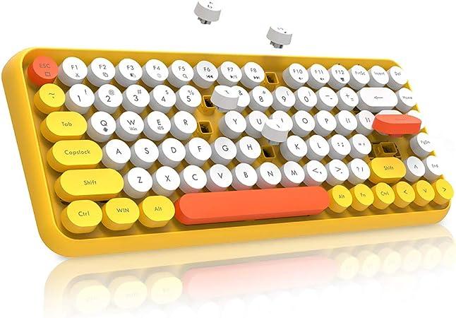 NACODEX 308I Teclado inalámbrico Bluetooth compacto 84 teclas retro redondo mini teclado portátil con teclas de chocolate silenciosas para ...