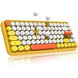 NACODEX 308I Wireless Bluetooth Typewriter Keyboard with Compact 84 Keys Cute Retro Round Keycaps - Comfortable Ergonomic Des