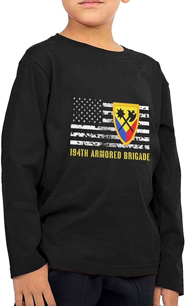 194th Armored Brigade Childrens Long Sleeve T-Shirt Boys Cotton Tee Tops