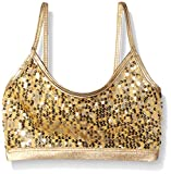 Gia Mia Dance Big Girls Sequin Bra Top, Gold, Medium