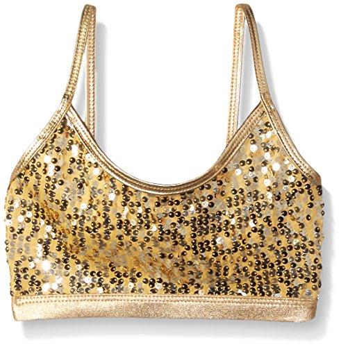 Gia Mia Dance Big Girls Sequin Bra Top, Gold, Medium by Gia Mia