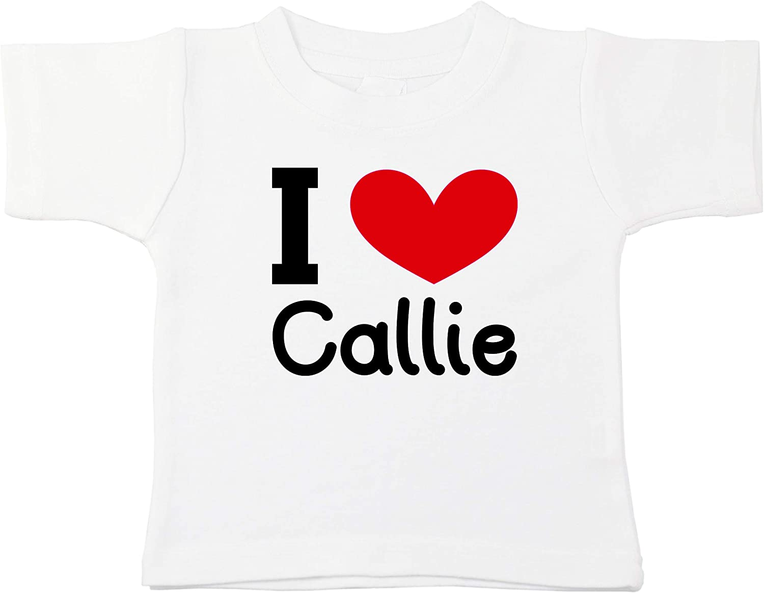 Kinacle I Love Callie Personalized Baby//Toddler T-Shirt