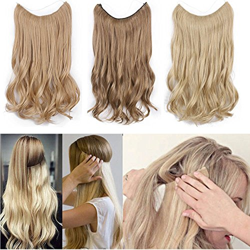 "Beauty : AisiBeauty 20""Invisible Hair Extensions Wire Wavy Secret Hair Extension Headband Fish Line Extensions Curly No Clip No Glue No Damage in Hair Extensions(24-613#)"