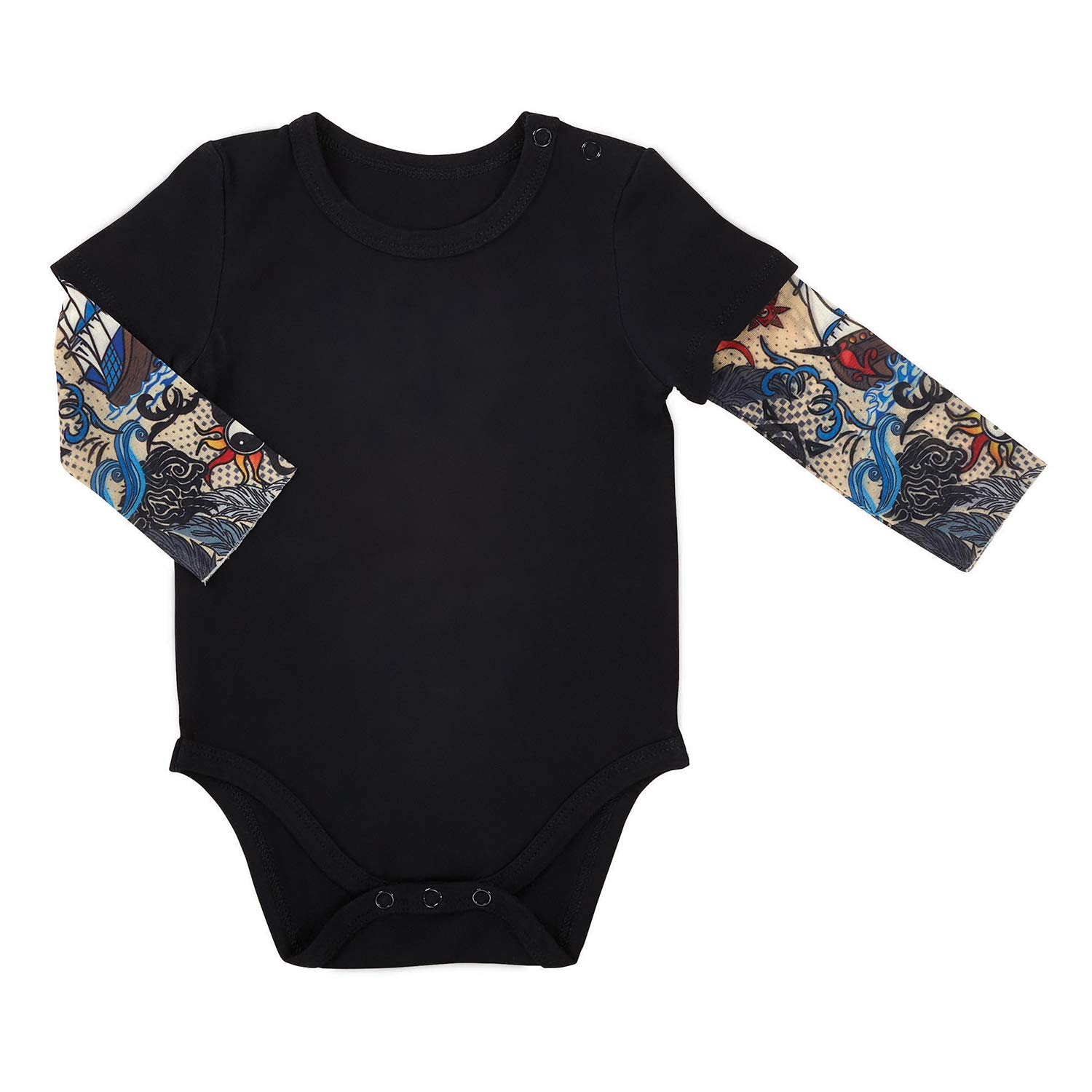 Stephan Baby Snapshirt-Style Diaper Cover with Tattoo Sleeves, Black, 6-12 Months by Stephan Baby