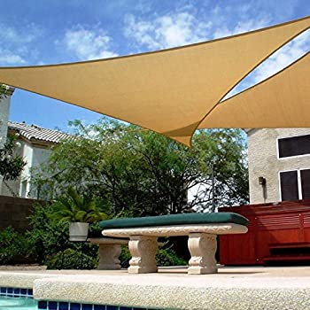 Shadeu0026Beyond 16u0027 x 16u0027 x 16u0027 Sand Color Triangle Sun Shade Sail for & Amazon.com : Shadeu0026Beyond 16u0027 x 16u0027 x 16u0027 Sand Color Triangle Sun ...