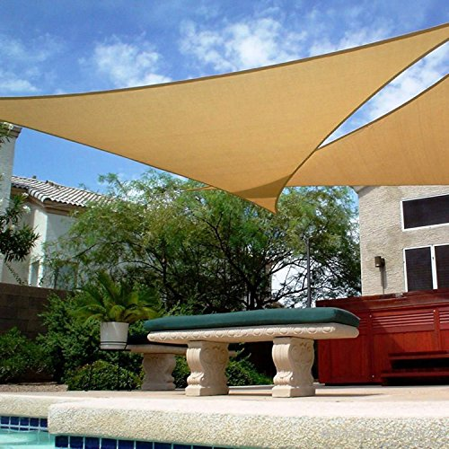 Shade&Beyond 16' x 16' x 16' Sand Color Triangle Sun Shade Sail for Patio UV Block for Outdoor Facility and (16' Pond Kit)