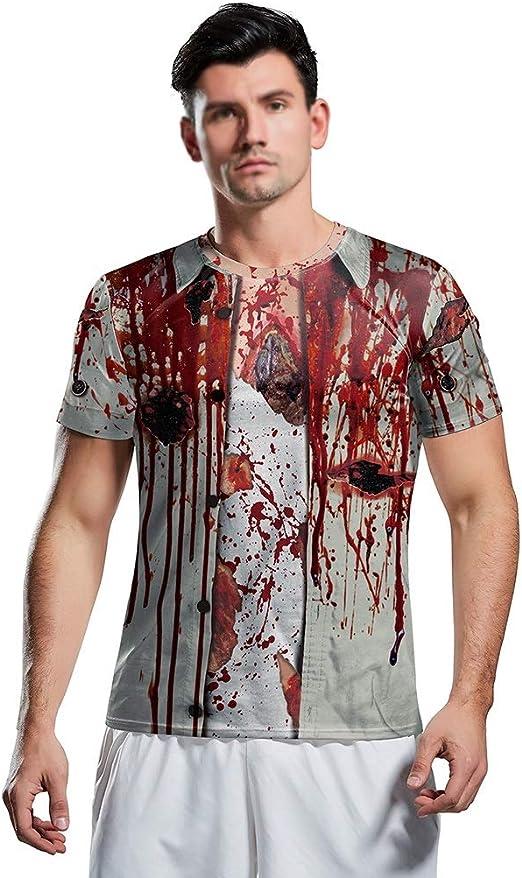 WXYXG Disfraz De Halloween Horror Zombie 3D Camiseta Corta Impresa ...