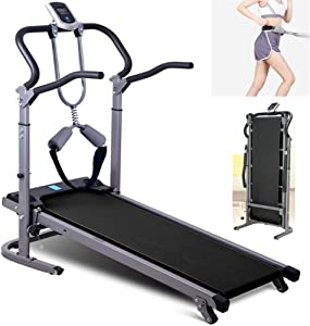 Folding Treadmills Mechanical Walking Running Jogging Machine Cardio Fitness Exercise Incline for Home 150Kg Max Weight Portable Space Saving