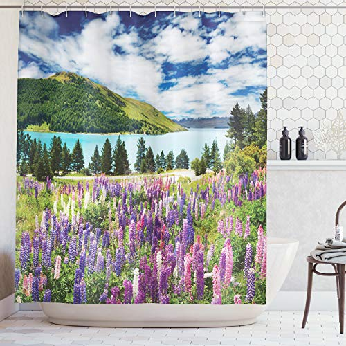 Ambesonne Apartment Decor Collection, Mountain lake and Colorful Flowers Blossom Pine Trees New Zealand Lakeside View, Polyester Fabric Bathroom Shower Curtain, 84 Inches Extra Long, Purple Pink Blue