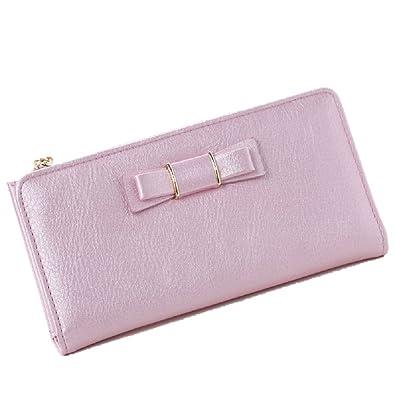 3a1d080bad5173 Amazon | [ノーブランド] レディース 長財布 ピンクのリボンが可愛い カードポケット多い | 財布
