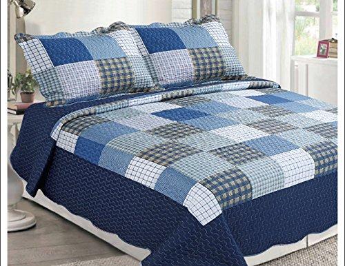 Golden linens 3 Pieces Printed Bedspread/ Coverlet Sets/ Quilt Sets Navy Blue Light Blue vibrant Colors Checkered #1001 (Queen) (Blue Checkered Coverlet Set)