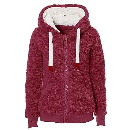 ZHRUI Womens Soft Teddy Hooded Jumper Hoodie Coat Bolsillo Peludo Chaqueta Caliente (Color : Blanco, tamaño : Small): Amazon.es: Hogar