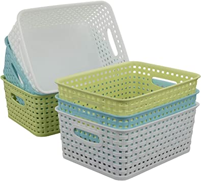 Amazon Com Qsbon Plastic Storage Baskets Bins Organizer For Bathroom 6 Pack Home Improvement