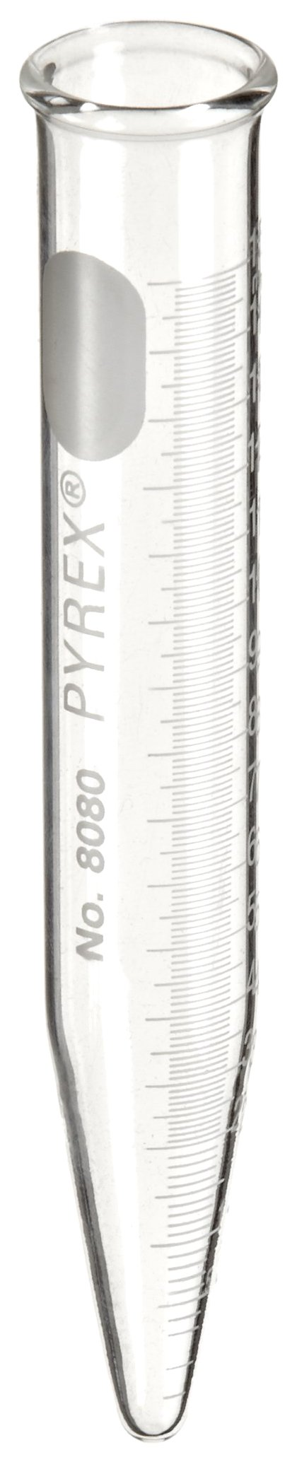 Corning Pyrex 8080-15 Glass Conical Cylindrical 15mL Centrifuge Tube with White Graduations and Beaded Rim (Pack of 12) by Corning