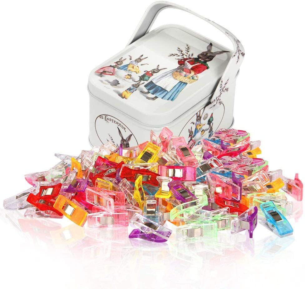 KERMAT Multipurpose Sewing Clips for Fabric Sewing Clips With Tin Box Pack of 80,60 Small 20 Middle Quilt Clips Assorted Colors Perfect for Sewing Binding,Crafts,Hanging Little Things
