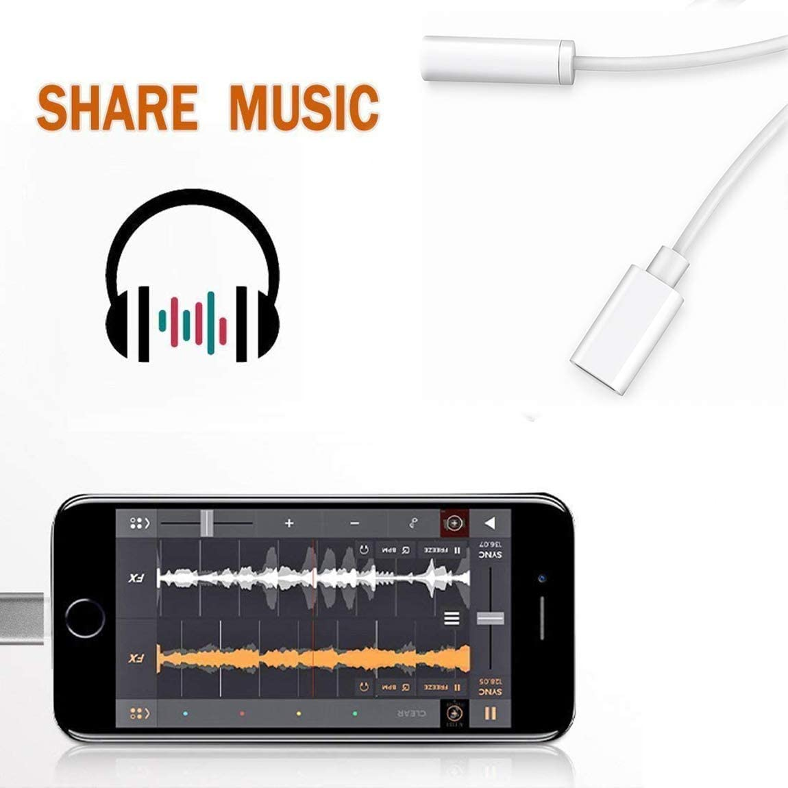 Headphone Adapter for iPhone 8 Adapter Aux Audio to 3.5mm 2 in 1 Jack Cables Dongle for iPhone 7 Earphone Splitter Adapter for iPhone 8 Plus//XR//Xs Music and Charging Compatible Support All iOS-White