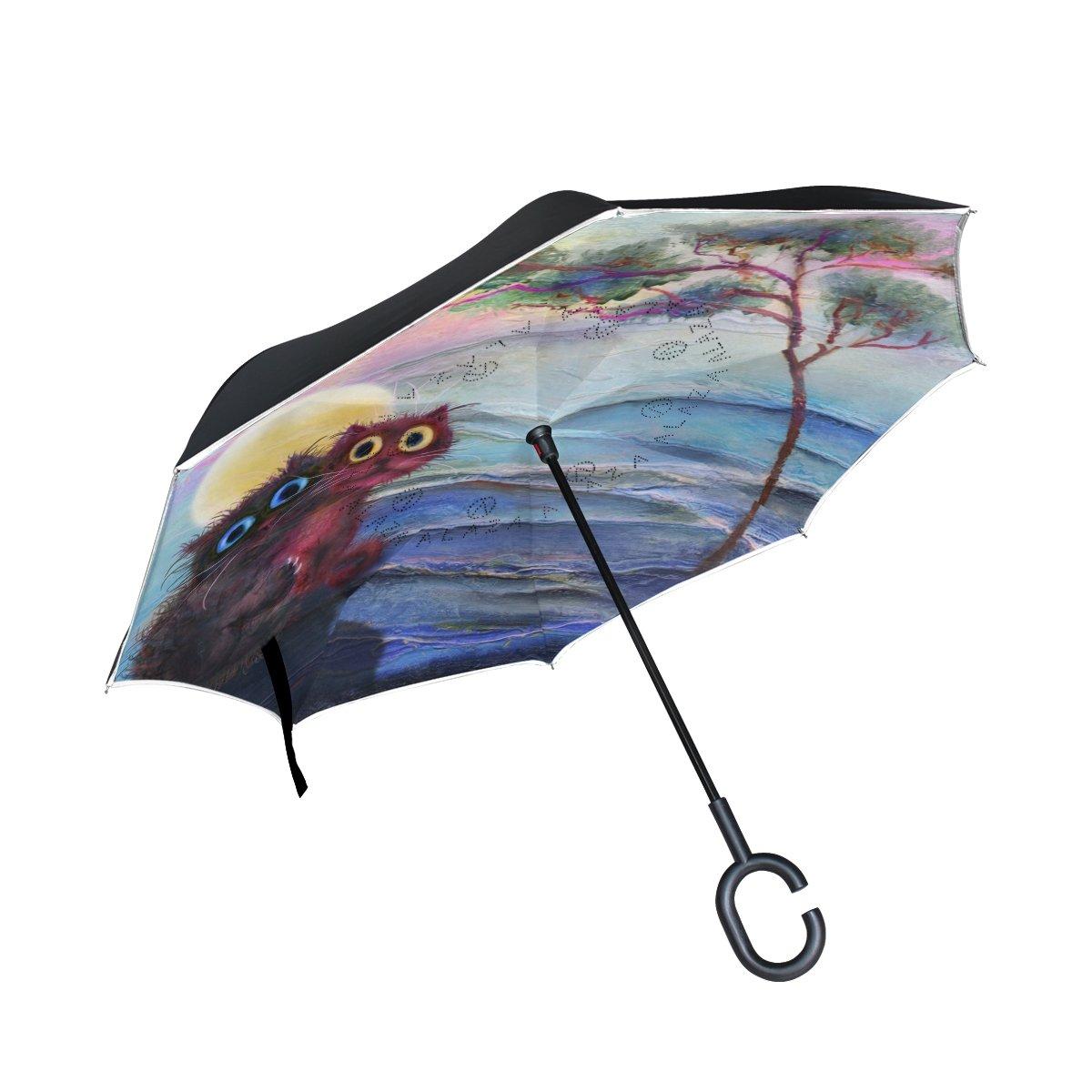 ALAZA Doble Capa Paraguas invertido Coches inversa Paraguas Dos Gatos bajo la Prueba de árbol de Halloween a Prueba de Viento al Aire Libre Paraguas UV ...