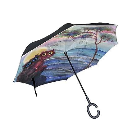 ALAZA Doble Capa Paraguas invertido Coches inversa Paraguas Dos Gatos bajo la Prueba de árbol de