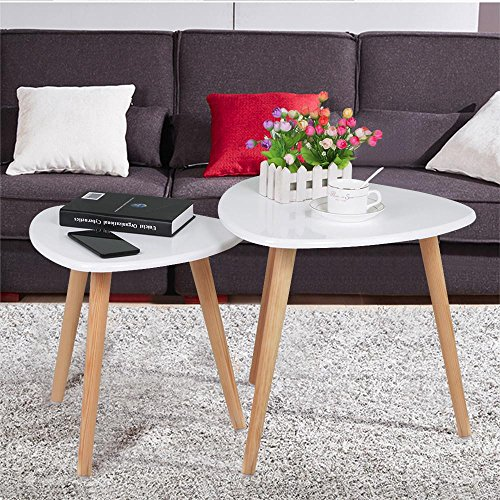 Nest Of 3 High Gloss White Curved Coffee Table Side Tables: Yaheetech White Gloss Wood Nesting Tables Living Room Sofa